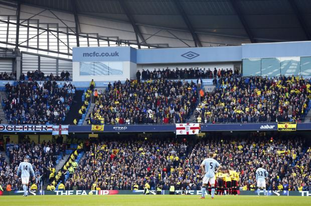 The Hornets fans at Manchester City last season. Picture: Action Images