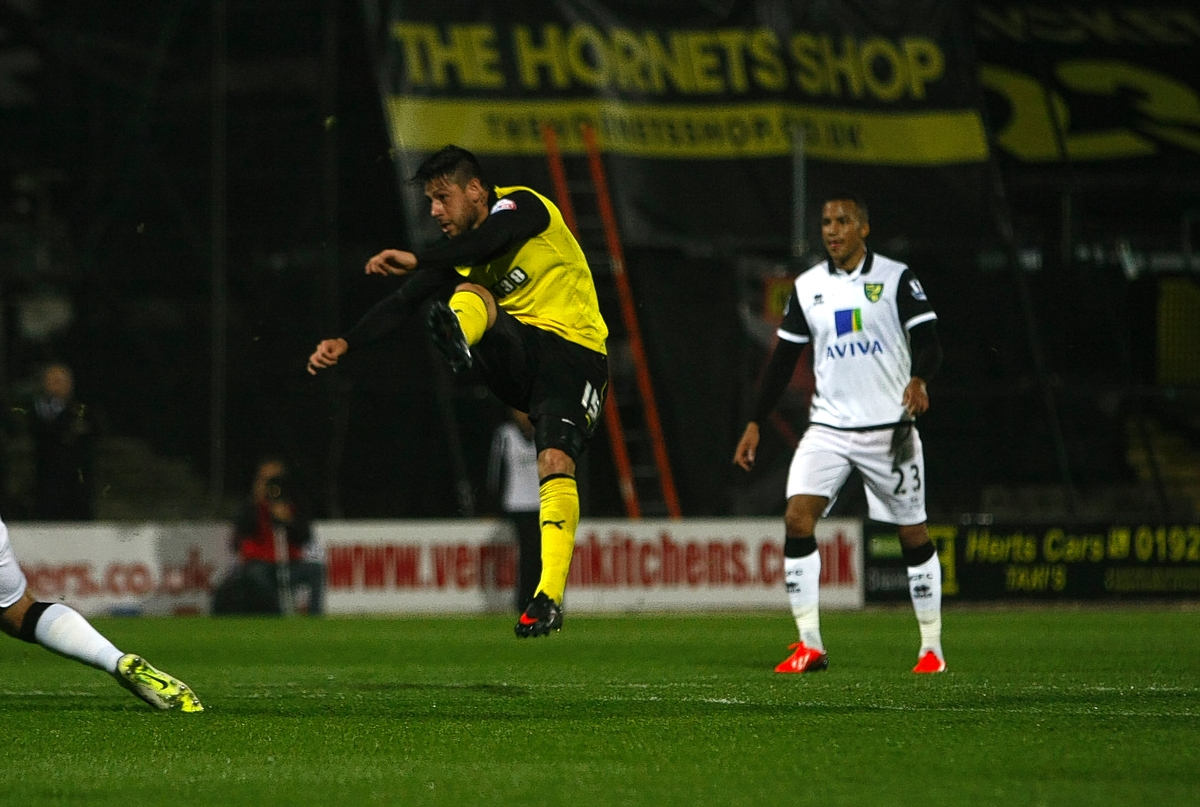 Javier Acuna scoring his only goal for Watford against Norwich City. Picture: Holly Cant