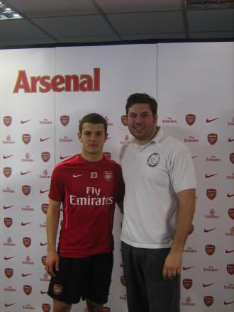 Daniel Gaze (right) with Arsenal FC midfielder Jack Wilshere