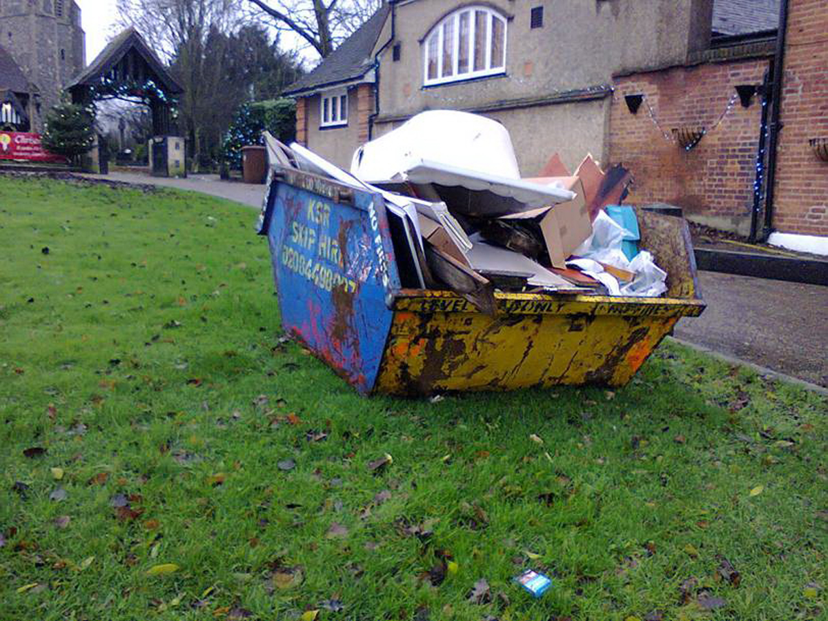 A rubbish skip for the club has been placed on the Green.