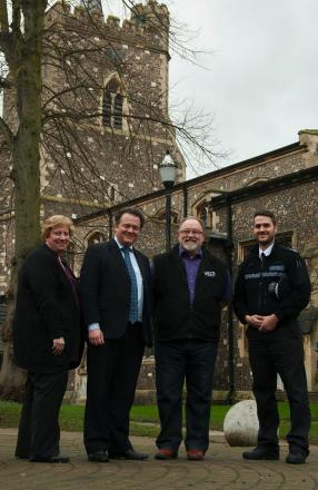 (L-R) Lynette Hill, a chaplain for the Women of Watford, David Lloyd, Richard Chewter from the Watford Town Centre Chaplaincy and Sgt Simon Mason from the Watford Safer Neighbourhood Team.