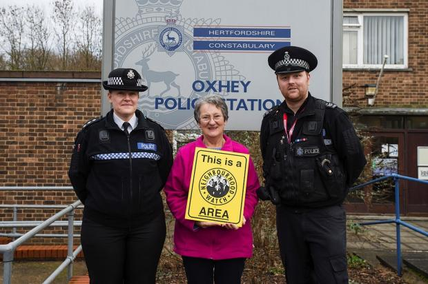 (L-R) Catherine Akehurst, chief inspector for Three Rivers, Sue Thompson, Neighbourhood Watch district co-ordinator for Three Rivers and Luke Mitchell, Neighbourhood Sergeant for South Oxhey.