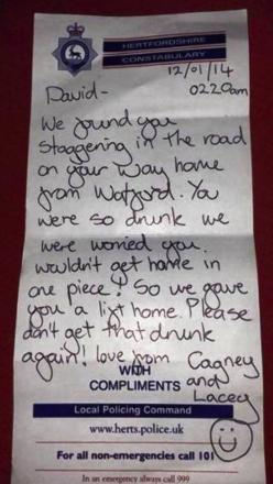 Watford police officers leave note for drunk man they took home