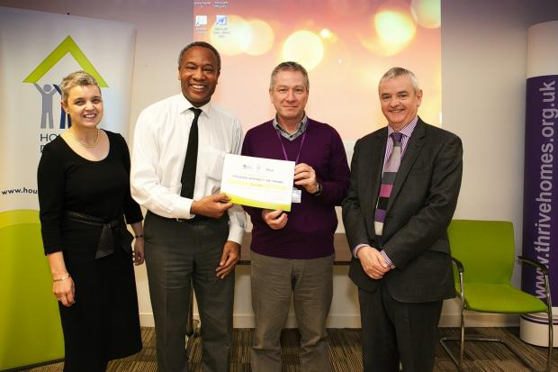 (L-R) Elspeth Mackenzie, chief executive of Thrive Homes, Clifton Robinson, chief executive of the housing diversity network, Peter Matza, a Thrive board member and mentee on the programme and David Orr, chief executive of the national housing federation.