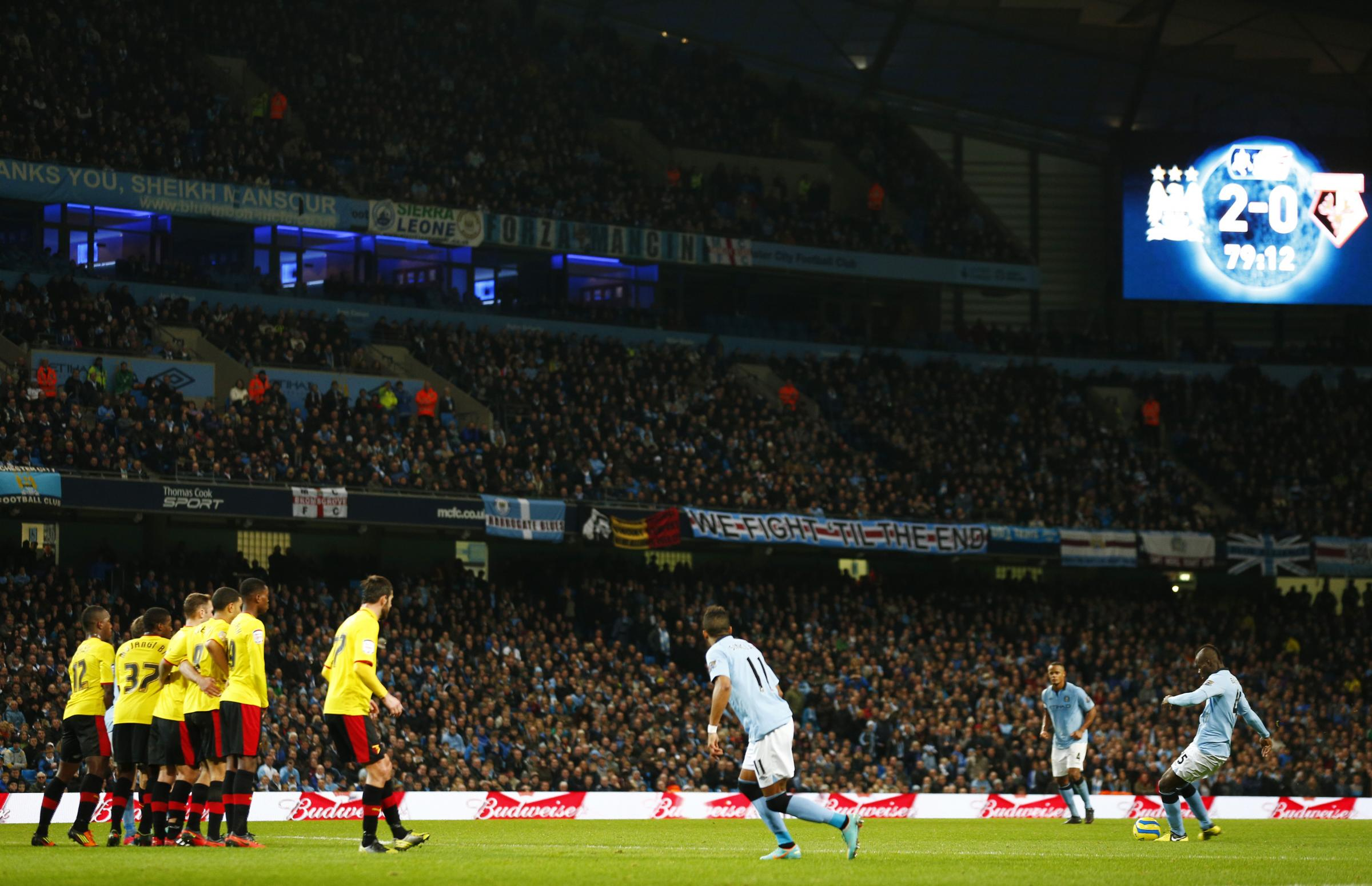 The Hornets were beaten 3-0 at the Etihad Stadium last season. Picture: Action Images