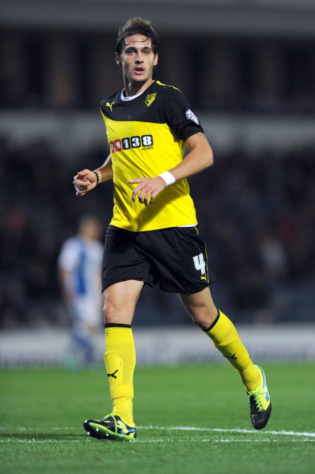 Watford Observer: Scored and, incorrectly, sent off: Gabriele Angella. Picture: Action Images