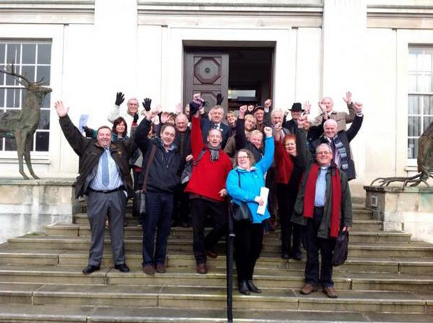 Residents' delight outside County Hall at the council's decision to reject the application.