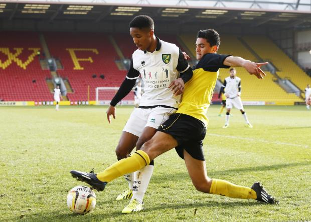 Watford's Harry Kyprianou challenges during today's Under-18s game with Norwich City. Picture: Action Images