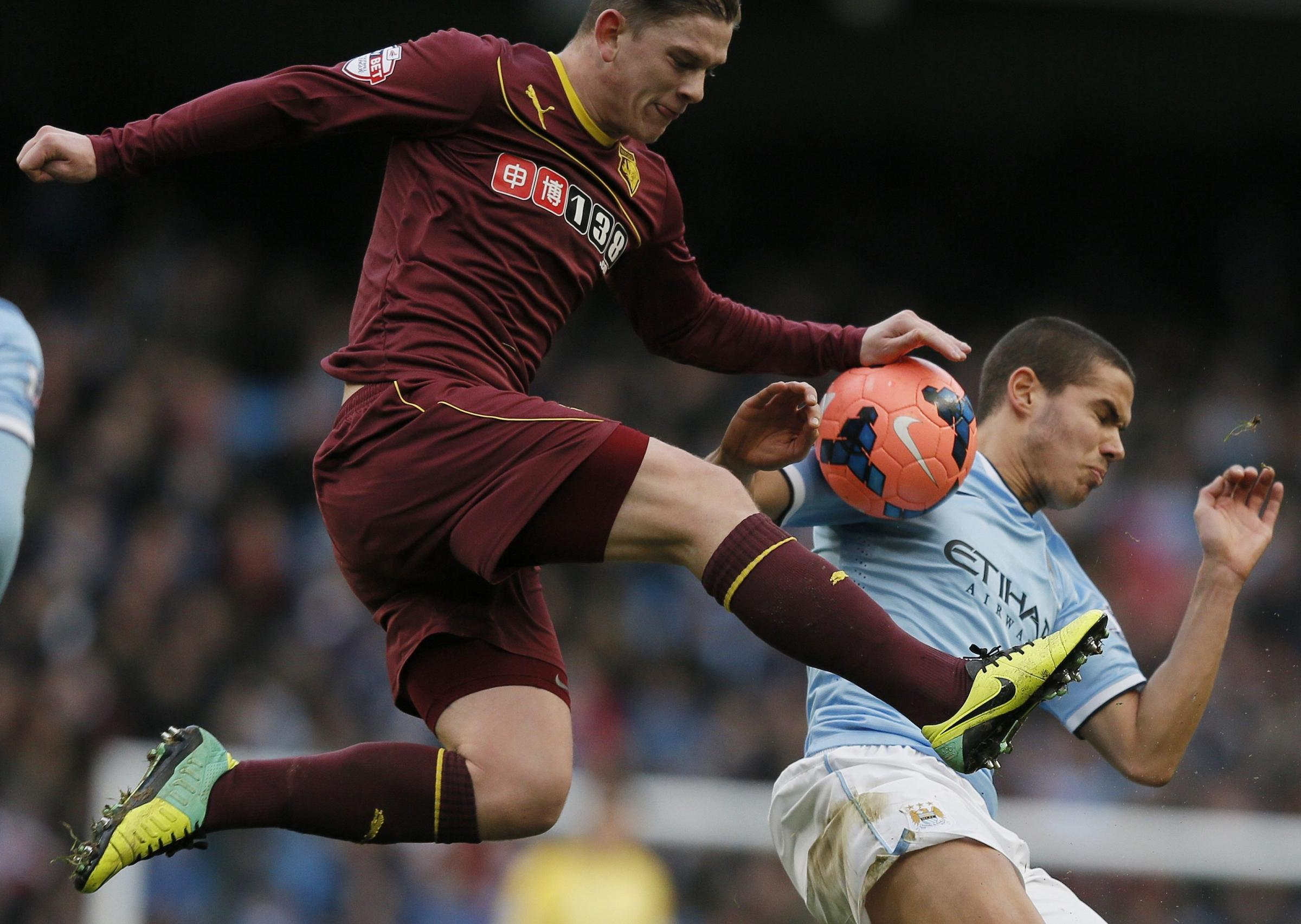 Sean Murray impressed at the weekend, unlike Manchester City's Jack Rodwell who is also pictured. Action Images