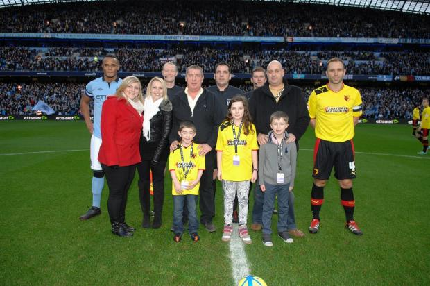 Hannah Hall, Roxanne Hall, Graham Hall (snr) and Graham Hall (jnr), Abbey Silverstein, Adi Silversterin, Neil Silverstein enjoying the 'Matchball Sponsor' package before Watford's FA Cup tie against Manchester CIty in 2013.
