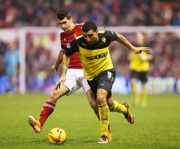 Watford Observer: Troy Deeney in action against Nottingham Forest. Picture: Action Images