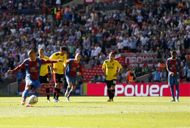 Watford Observer: Kevin Phillips scoring against his first professional club in last season's Championship Play-Off final. Picture: Action Images