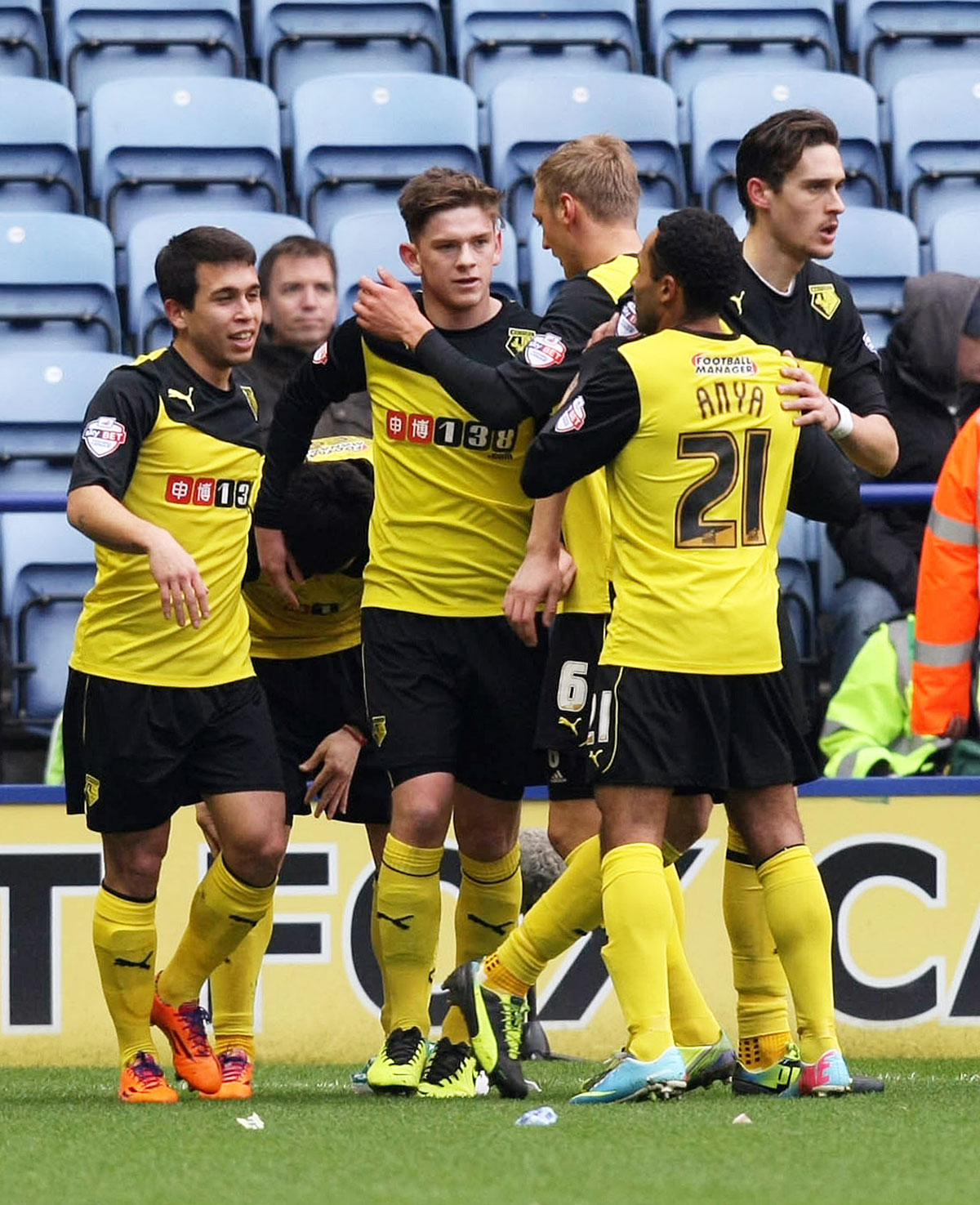 Sean Murray is congratulated after putting Watford 2-0 up. Picture: Action Images