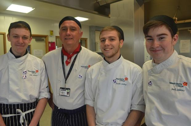 Pictured sporting their Peace Hospice Care badges are (from left) Liam Johnson, Andy Wakeford (Chef Lecturer), Freddie Gosling, Jack Gibbons.