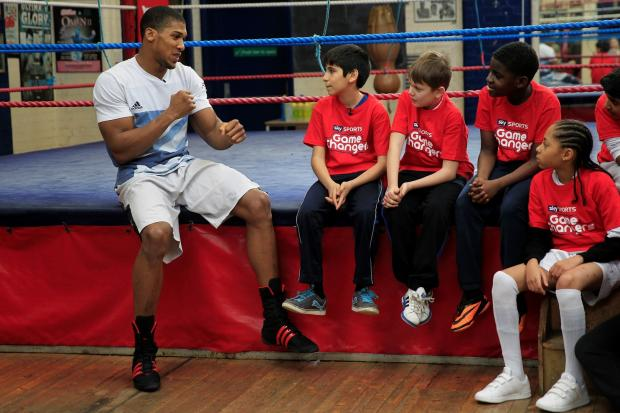 Joshua met up with group of 12 year olds as part of Sky Sports Game Changers