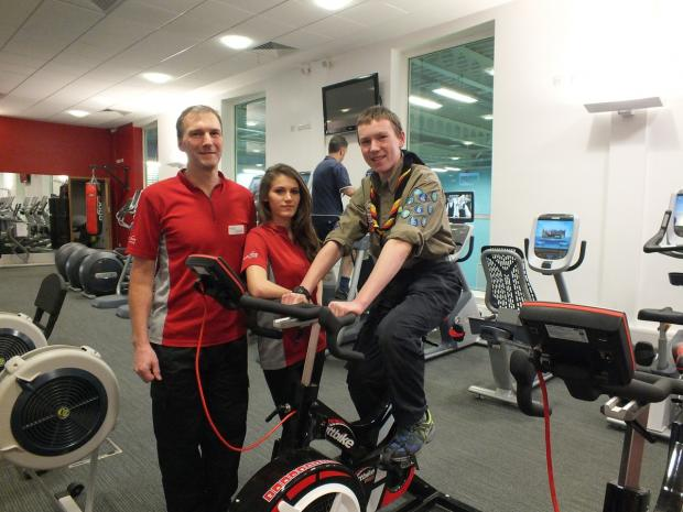 Jack Goldsworthy with Everyone Active fitness motivators Dave Surrey and Chelsea Haney
