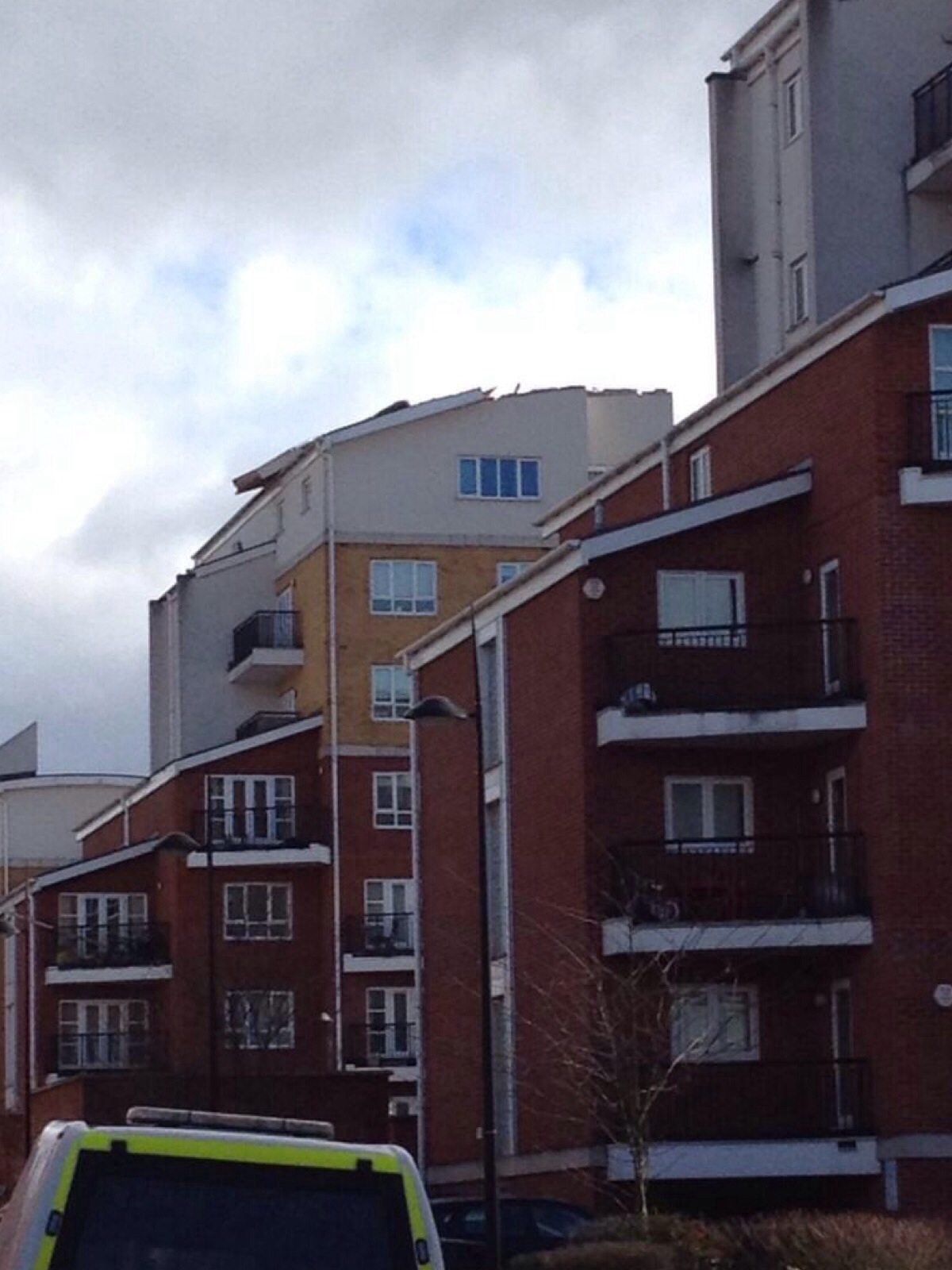 Roof blown off flats in West Watford