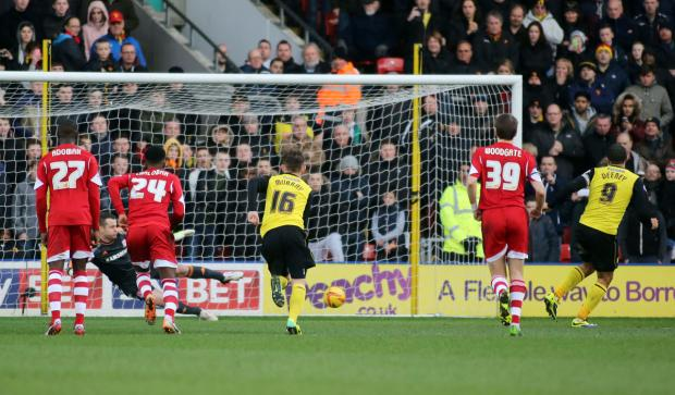 Troy Deeney scores Watford's decisive penalty. Picture: Action Images