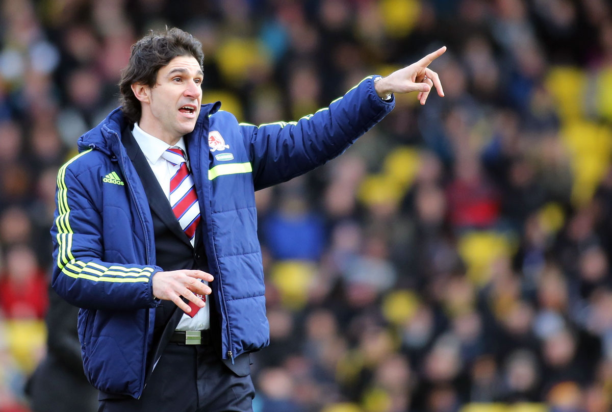 Aitor Karanka at Vicarage Road today. Picture: Action Images