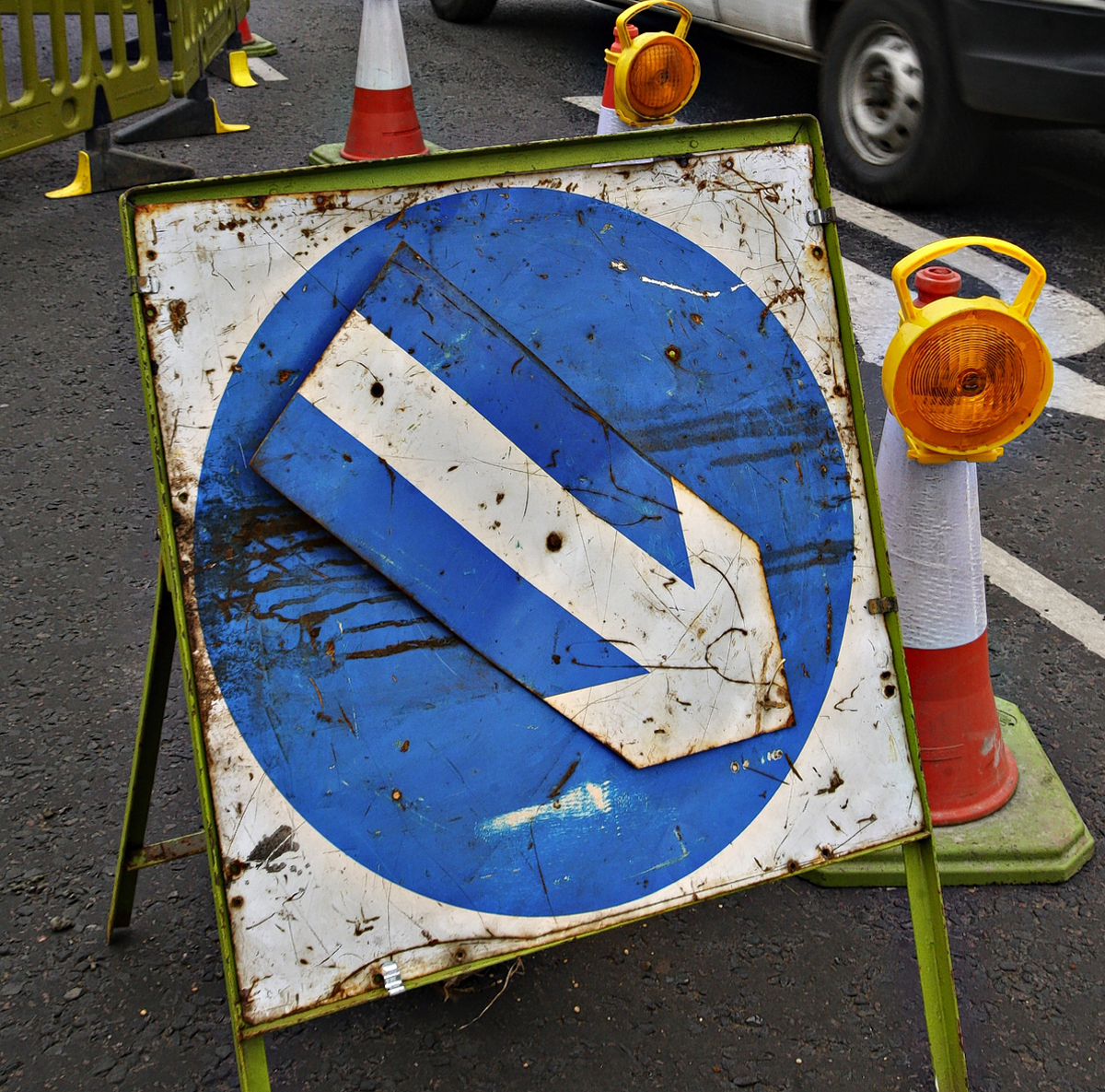 Delays in Abbots Langley due to resurfacing n