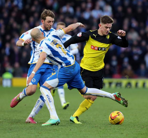 Sean Murray playing for Watford against Brighton & Hove Albion earlier this season. Picture: Dave Peters