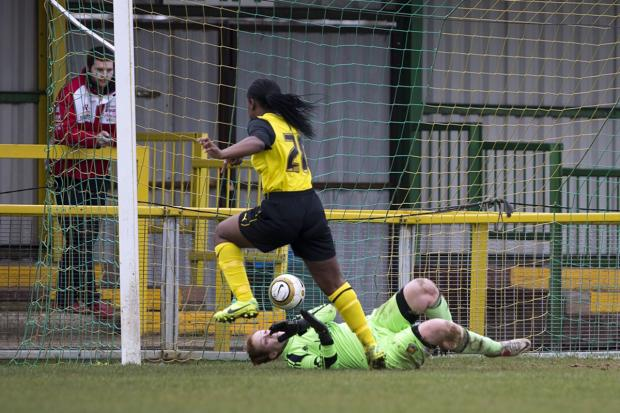 Madga Mosengo nets Watford Ladies' fourth goal after coming off the bench. Picture: Andrew Rowland