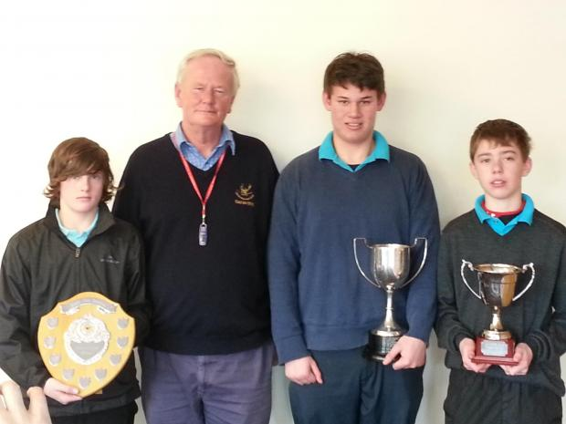 (left to right) Jamie Barker – Order of Merit, Hamish Jarvie – Junior Championship, Luke Wrathall Junior Cup, with Martin Evans the junior section manager (second from left)