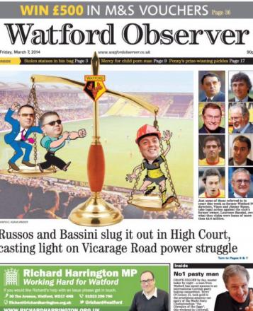 This week's issue of the Watford Observer.