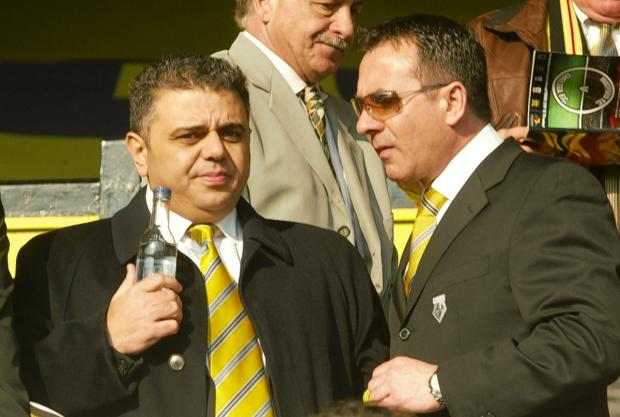 Jimmy Russo (left) with his brother Vince at Vicarage Road.