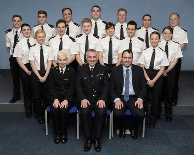 Special Constables (white shirts) and bottom row (in full police uniform) from left to right: Special Chief Inspector Kit Day, Chief Superintendent Bill Jephson and Deputy Crime and Commissioner for Hertfordshire David Gibson
