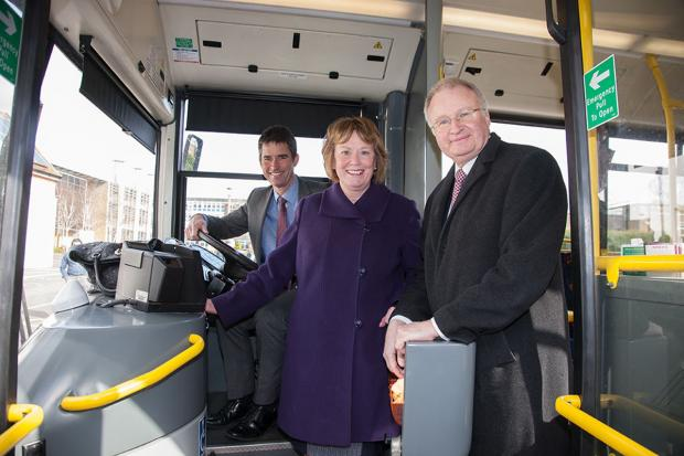 Watford Observer: Left to right: Peter Bonfield, BRE, Watford Mayor Dorothy Thornhill, and chairman of UNO Philip Waters