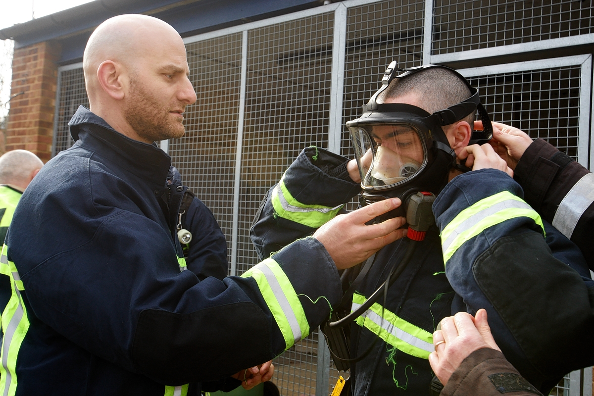 Royal Navy officers fighting fires in Rickmansworth