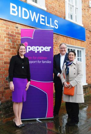 Left to right: Lucie Stone, Head of Kings Langley Bidwells, Jonathan Tweed former joint chairman Pepper, Diane Butler Lead Fundraiser Pepper.