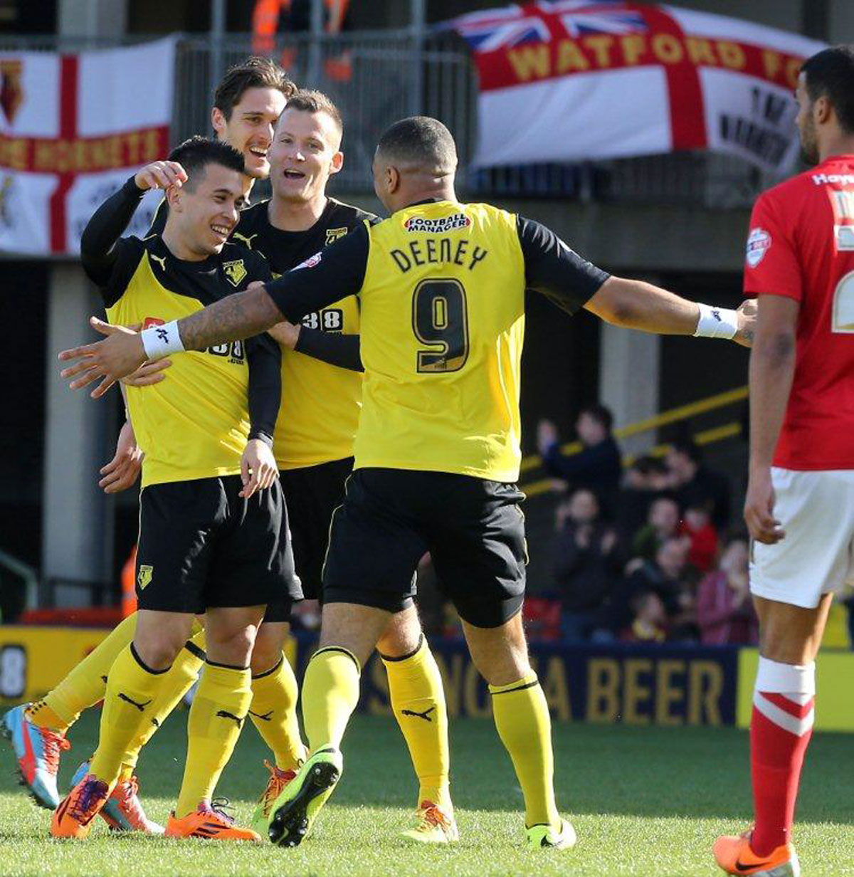 Cristian Battocchio celebrates setting Watford on their way to another clean sheet home win on Saturday. Picture: Dave Peters