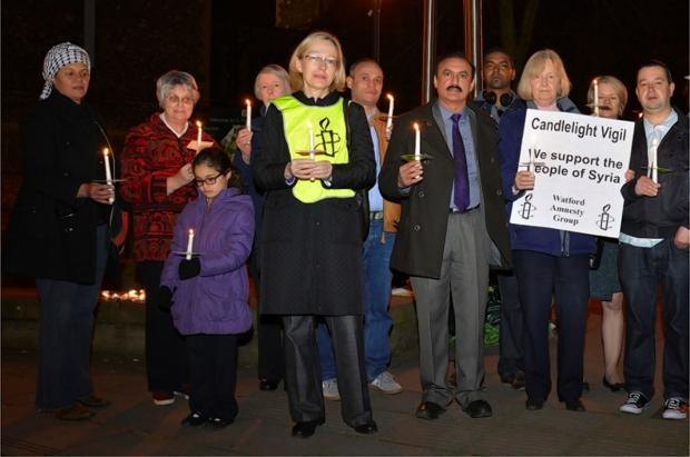 Candlelight vigil held for anniversary of Syrian uprising