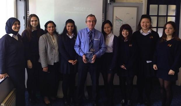 The team and their back-up researchers share the Bank of England Area Trophy with their teachers