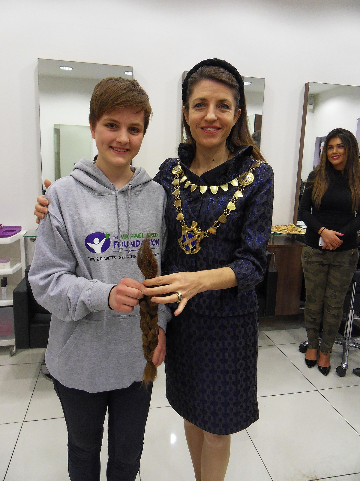Amy Derrick with Mayor of St Albans Annie Brewster