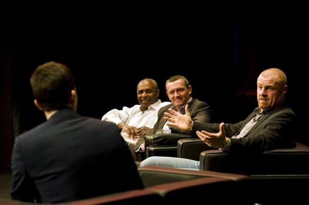 Adam Leventhal, Luther Blissett and Aidy Boothroyd listen and smile as Sean Dyche recounts a Tale from the Vicarage. Picture: SIMON GILL