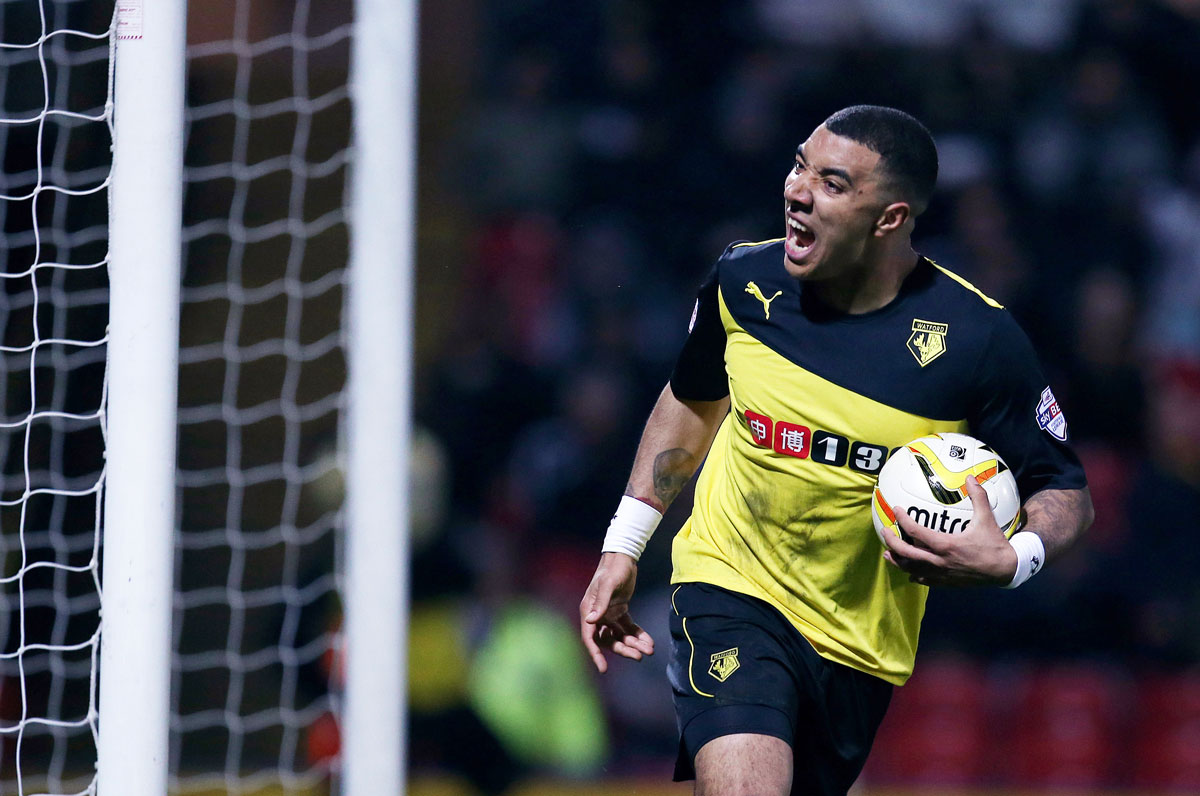 Deeney delight: the Watford striker has scored 20 goals for the second consecutive season. Picture: Action Images