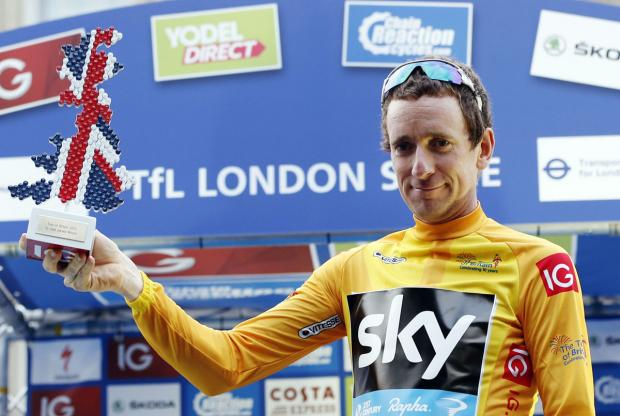 Sir Bradley Wiggins celebrates his victory in last year's Tour of Britain. Picture: Action Images