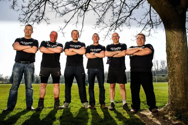 Pictured (feft to right) Fullerians Rugby Club Chairman Kevin Brind, coaches Rob Marsh, Ashley Walsh, Mark Ellis, Martin Rennoldson, and bar steward Gary Wall