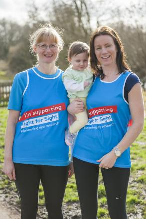 Image of Catherine Parsi, her daughter Sienna (Watford) and Catherine's running partner, Phyllida Jones (St Albans). Photo taken by Emma Fletcher.