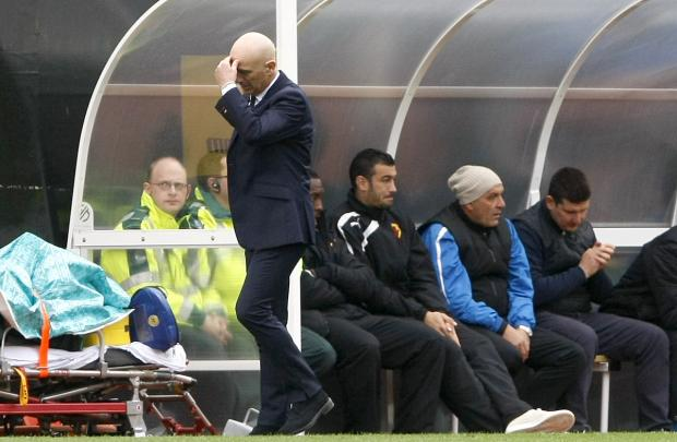 Beppe Sannino is unable to hide his frustration after Burnley's late equaliser. Picture: Holly Cant
