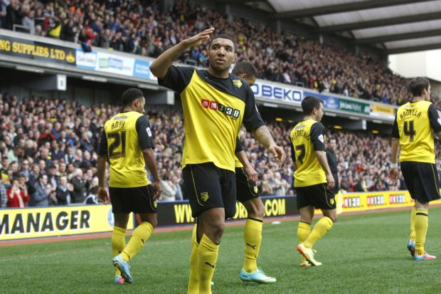 Watford Observer: Troy Deeney's form in recent months mean Premier League clubs will almost certainly come calling in the summer. Picture: Holly Cant