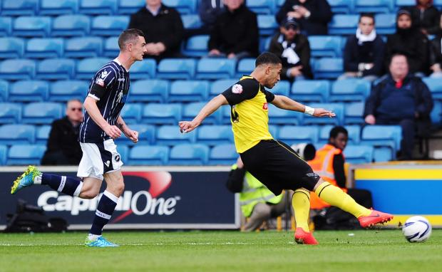 Lewis McGugan fires the Hornets in front. Picture: Action Images