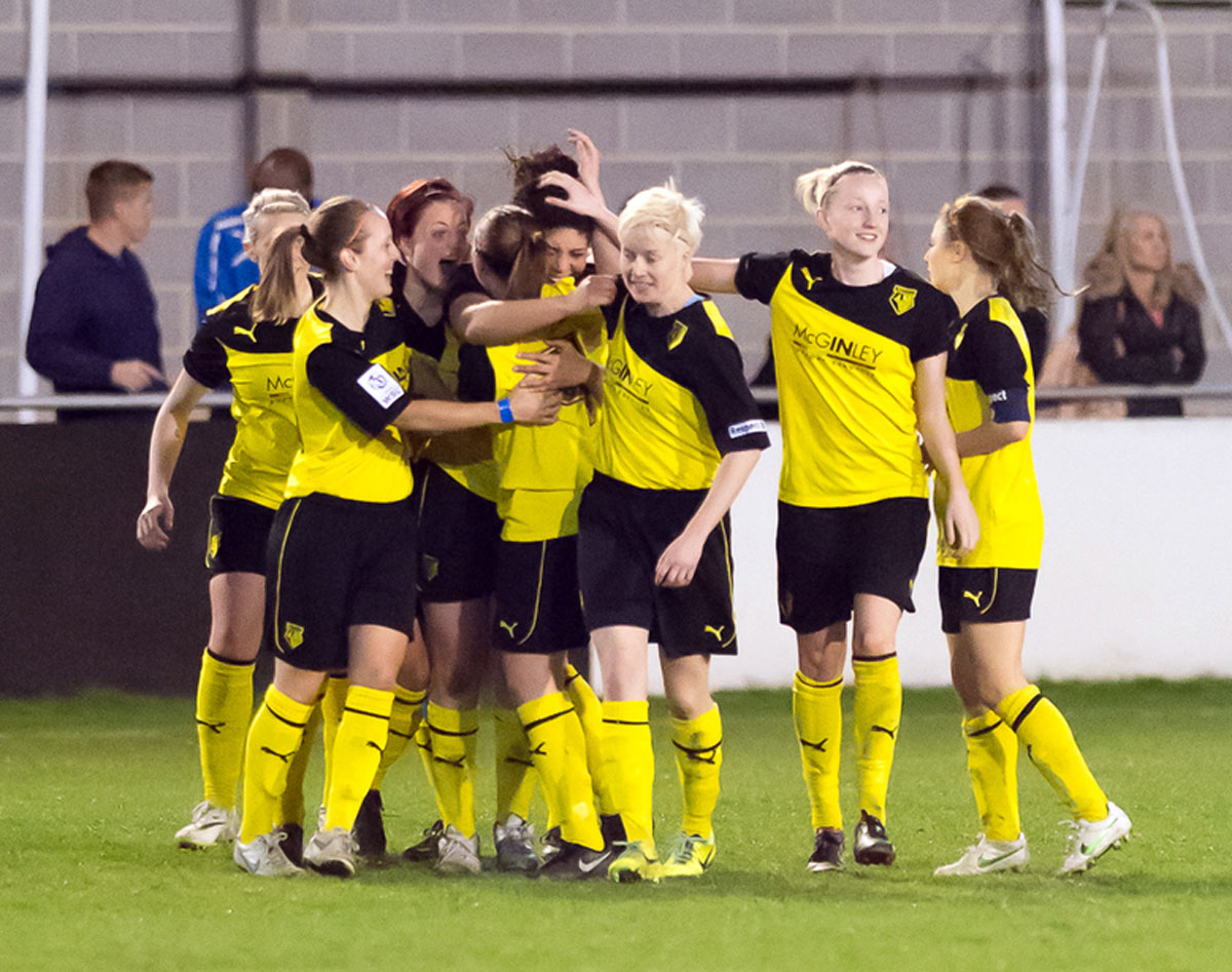 Watford Ladies celebrate Renee Hector giving them the lead. Picture: Andrew Waller