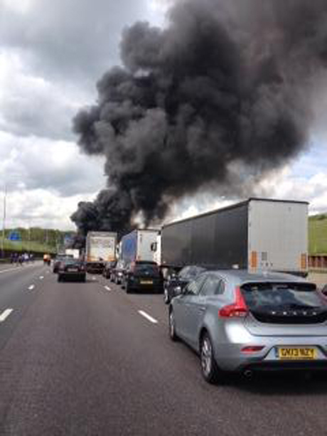Video: M25 lorry fire - 'when the flames went up and the banging noises started, everyone stopped '