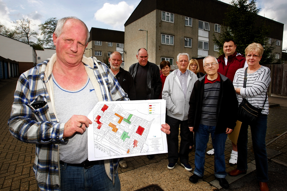 Mick Fox with residents opposing the scheme