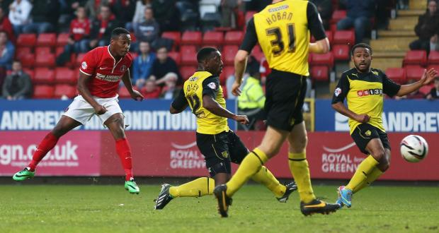 The only goal of the game so far came through a superb strike by Callum Harriott. Picture: Action Images