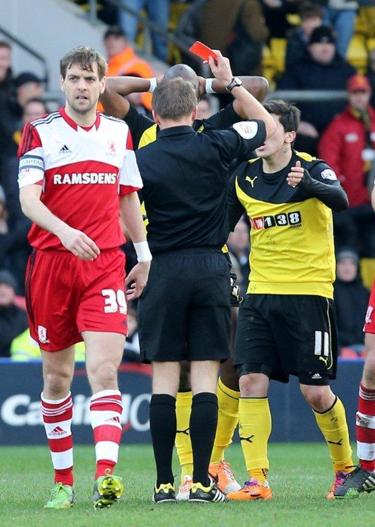 Samba Diakite is shown a red card against Middlesbrough. Picture: Dave Peters